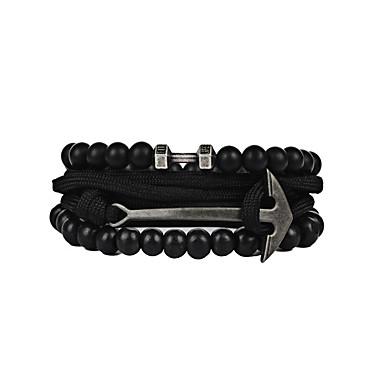 Men's Women's Strand Bracelet Vintage Friendship Hip-Hop Fashion Gothic Stretch PU Leather Resin Nylon PVA Alloy Anchor Jewelry Christmas