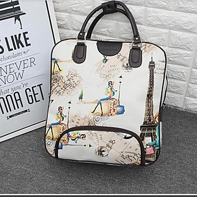 Women Travel Bag Oxford Cloth Polyester All Seasons Casual Outdoor Rectangle Zipper White Black Blushing Pink