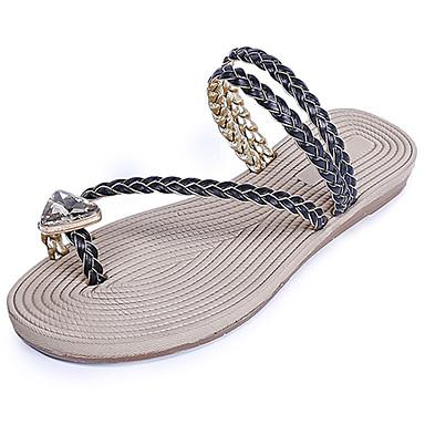Naisten Kengät Kumi Kesä Comfort Sandaalit Kävely Tasapohja varten ulko- Valkoinen Musta