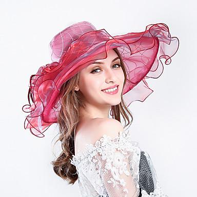 billige Hodeplagg til fest-Fjær / Silke / organza Kentucky Derby Hat / fascinators / Hatter med Blomster 1pc Bryllup / Spesiell Leilighet / Fest / aften Hodeplagg
