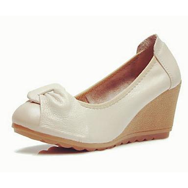 Naiset Kengät Nahka Kevät Comfort Sandaalit Käyttötarkoitus Kausaliteetti Valkoinen Musta Beesi