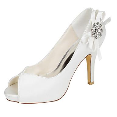 Mulheres Sapatos Cetim com Stretch Verão Plataforma Básica Saltos Salto Agulha Peep Toe Cristais para Festas & Noite Social Ivory