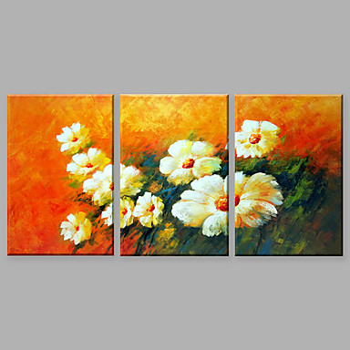 Hand-Painted Floral/Botanical Vertical, Abstract Canvas Oil Painting Home Decoration Three Panels
