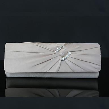 billige Vesker-Dame Rhinsten / Kjede Silke Clutchveske Rhinestone Crystal Evening Bags Svart / Lilla / Sølv