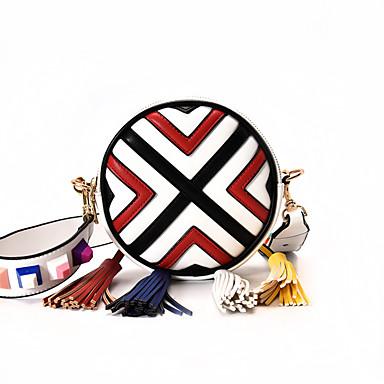 Women Shoulder Bag PU All Seasons Casual Circle Zipper White Black Dark Blue