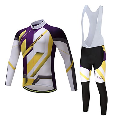Long Sleeves Cycling Jersey with Bib Tights Bike Clothing Suits, Quick Dry