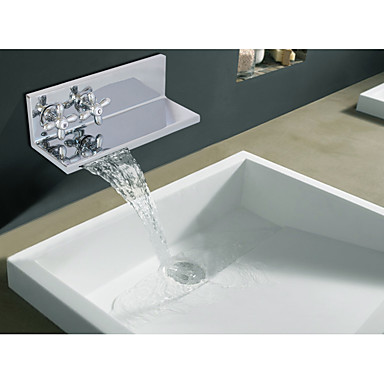 Bathroom Sink Faucet - Waterfall Chrome Centerset Two Handles One Hole