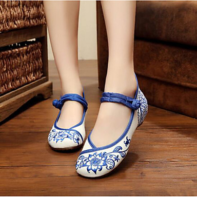 Women's Dance Sneakers Fabric Flat Practice Blue