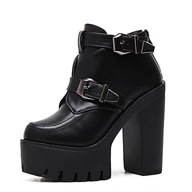 Naiset Bootsit Muotisaappaat PU Kevät Kausaliteetti Muotisaappaat Musta 3-3,75in