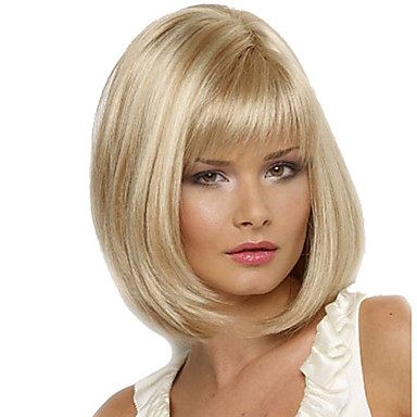 Synthetic Wig Straight Blonde Synthetic Hair Blonde Wig Women's Medium Length Capless
