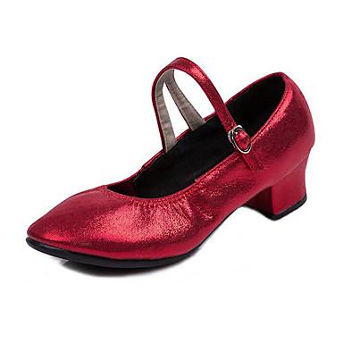 Mulheres Sapatos de Dança Moderna Courino Sandália / Têni Flor Salto Baixo Sapatos de Dança Dourado / Prata / Vermelho / Profissional