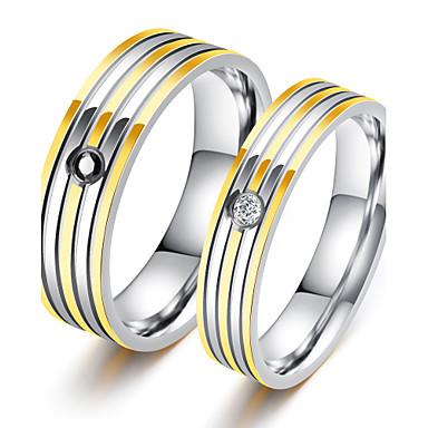 Casal Anéis de Casal Zircônia cúbica Elegant Estilo simples Zircônia Cubica Aço Titânio Redonda Jóias de fantasia Casamento Aniversário