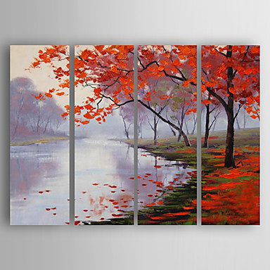 Hand-Painted People Horizontal, Abstract Canvas Oil Painting Home Decoration Four Panels