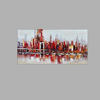 Pintados à mão Abstrato Quadrada, Inspirado da Natureza Tela de pintura Pintura a Óleo Decoração para casa 1 Painel