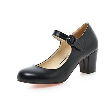Mulheres Sapatos Couro Ecológico Primavera / Verão Conforto / Inovador Saltos Salto Robusto Ponta Redonda Presilha Preto / Bege / Rosa