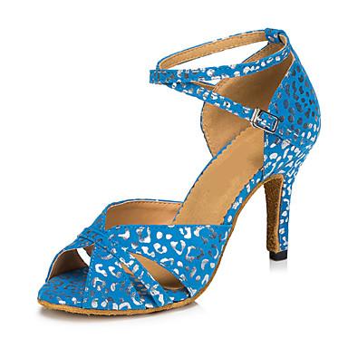 Women's Latin Nubuck leather Heel Indoor Buckle White Blue 2
