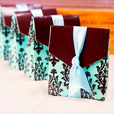 12 Piece/Set Favor Holder - Wedding Anniversary Brown and Turquoise Tapestry Candy Box 7 x 3.8 x 8.5 cm Beter Gifts®
