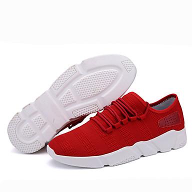 Homens sapatos Couro Ecológico Primavera Outono Solados com Luzes Tênis Cadarço para Casual Branco Preto Cinzento Escuro Vermelho