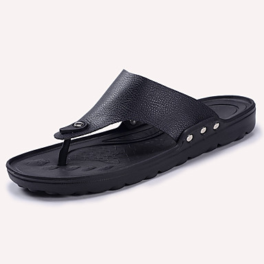 Men's Shoes PU Summer Comfort Sandals for Casual White Black