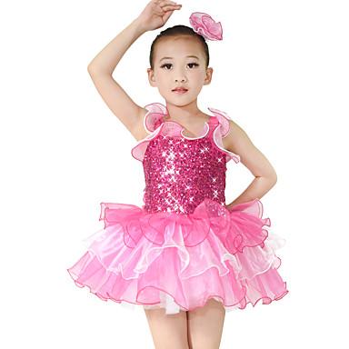 Danse classique Robes Enfant Spectacle Elasthanne Organza Paillété Volants Robe pan volant 2 Pièces Sans manche Taille moyenneRobe