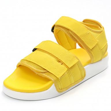 Mulheres Sapatos Couro Ecológico Verão Solados com Luzes Conforto Sandálias Sem Salto Dedo Aberto Colchete para Social Preto Amarelo