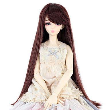 Cabelo Sintético perucas Reto boneca peruca Ruivo Escuro