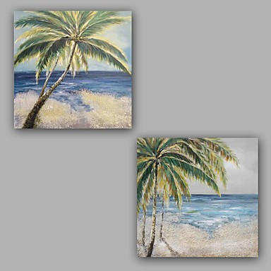 100%  Hand-Painted Abstract / Seascape / Classic Two Panel Canvas Oil Painting For Home Decoration