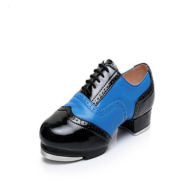 Men's Tap Shoes Cowhide Heel / Sneaker Splicing Low Heel Dance Shoes Black / Blue / Red / White / White / Silver / Practice