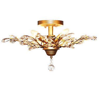 LightMyself™ 4-luz Montage de Flujo Luz Ambiente Latón Envejecido Metal Cristal, Mini Estilo, LED 110-120V / 220-240V Bombilla no incluida / E12 / E14