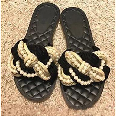 Women's Flats Comfort Summer Linen Casual Black Flat