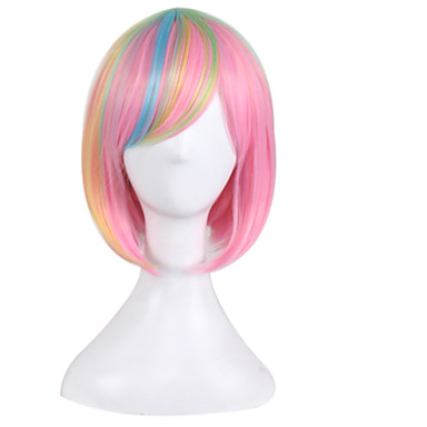 Blonde Europe and America Anime Wig Pink Gradient Bobo Wig Short Hair 10inch