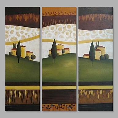 Pintura a Óleo Pintados à mão - Paisagem Abstracto Tela de pintura 3 Painéis