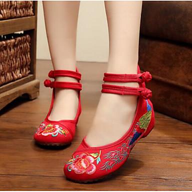 Women's Flats Fabric Flat Practice Black Red Blue