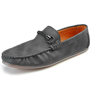 Men's Shoes PU Spring Summer Comfort Loafers & Slip-Ons for Casual Gray Dark Brown Khaki