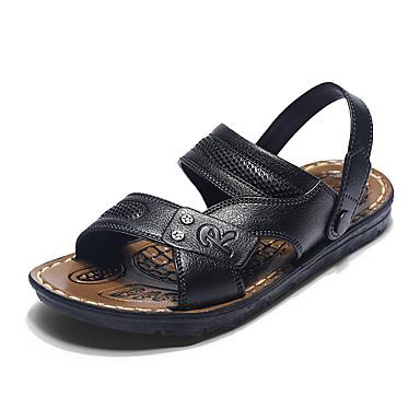 Herre sko Lær Sommer Høst Komfort Sandaler Knapp Kombinasjon Til Avslappet Svart Brun