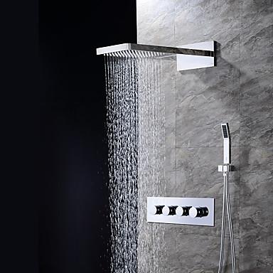 Смеситель для душа - Современный Хром На стену Керамический клапан / Латунь / Четыре ручки три отверстия