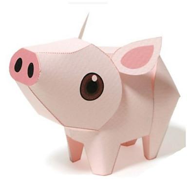 Quebra-Cabeças 3D Maquetes de Papel Artesanato de Papel Brinquedos de Montar Porco Animais Faça Você Mesmo Clássico Desenho Crianças