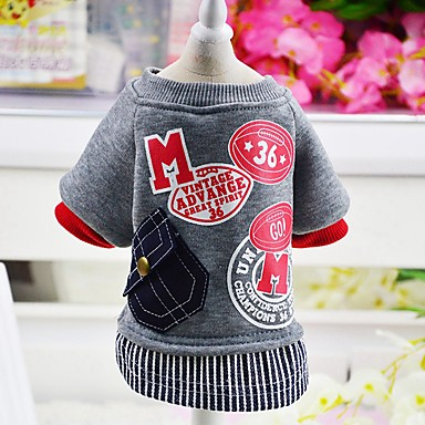 Dog Coat Sweatshirt Dog Clothes Letter & Number Gray Red Woolen Cotton Costume For Pets Men's Women's Casual/Daily Fashion