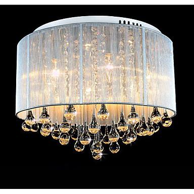 6-Light Flush Mount Uplight - Crystal, 220-240V, Yellow, Bulb Included / 10-15㎡ / LED Integrated