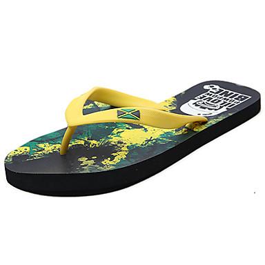 Herre Tøfler og flip-flops Komfort PU Sommer Grønn Flat
