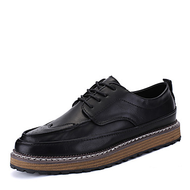 Men's Shoes Leatherette Spring Fall Comfort Oxfords for Casual Office & Career Outdoor Black Gray Brown