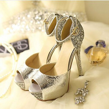 Women's Shoes Paillette Patent Leather PU Summer Comfort Sandals For Wedding Casual Gold White Black Silver Peach