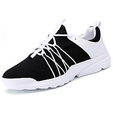 Homens sapatos Couro Ecológico Tule Primavera Outono Solados com Luzes Conforto Tênis Cadarço para Casual Ao ar livre Branco Preto