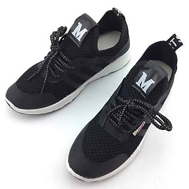 Mulheres Sapatos Tecido Primavera Outono Conforto Tênis Caminhada Sem Salto Ponta Redonda Cadarço para Casual Ao ar livre Branco Preto