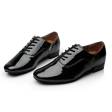 Men's Latin Leatherette Sneaker Indoor Customized Heel Black Under 1