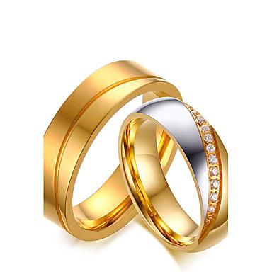 Casal Zircônia cúbica Anéis de Casal - Zircônia Cubica Vintage, Estilo simples, Elegante 5 / 6 / 7 Dourado Para Casamento / Aniversário / Noivado