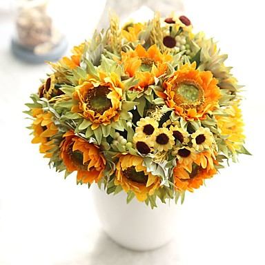 10inch Large Size 5 Heads Silk Polyester Sunflowers Tabletop Flower Artificial Flowers