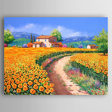 Hand-Painted Landscape Horizontal Panoramic, Abstract Canvas Oil Painting Home Decoration One Panel