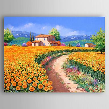 Pintados à mão Paisagem Panorâmico horizontal, Abstracto Tela de pintura Pintura a Óleo Decoração para casa 1 Painel