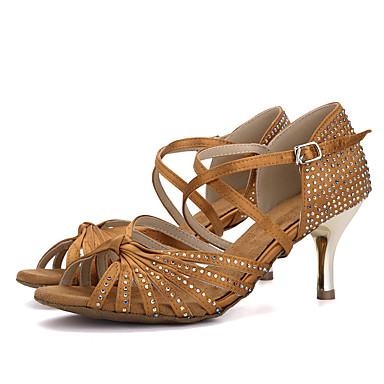 cheap Dance Shoes-Women's Latin Shoes Silk Sandal / Heel Rhinestone / Buckle Stiletto Heel Dance Shoes Brown / Red / Green / Performance / Leather